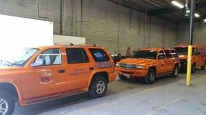 Water Damage Anthem SUV's At Warehouse
