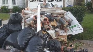 Water Damage Restortion Debris Pile