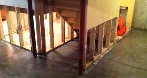Water Damage Restoration In Downstairs Area