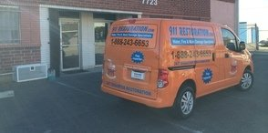 Water and Mold Damage Restoration Van Being Prepped For A Job